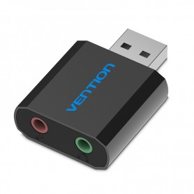 Vention - USB External Sound Card to 3.5mm Audio Aux Mic Adapter - Audio adapters - V013-B www.NedRo.us