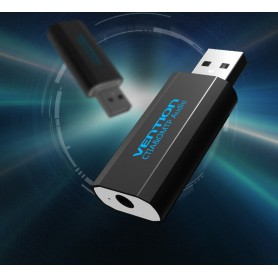 Vention - 3D USB externe geluidskaart naar 3.5mm audio microfoon AUX adapter - Audio adapters - V014-B www.NedRo.nl
