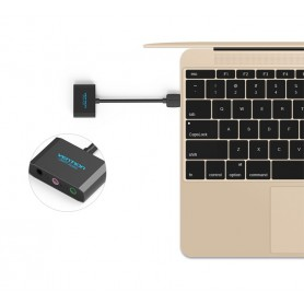 Vention, OMTP USB External Sound Card to 3.5mm Audio Aux Mic Adapter, Audio adapters, V016, EtronixCenter.com
