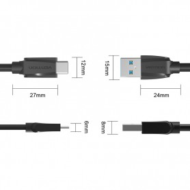 Vention - USB 3.0 naar USB Type-C datakabel - Zwart - USB 3.0 kabels - V022-B2 www.NedRo.nl