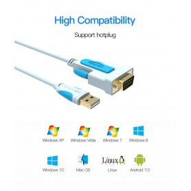 Vention - USB 2.0 naar DB9 RS232-kabel Seriële USB COM-poort DB9-pinskabeladapter - RS 232 RS232 adapters - V023-3M www.NedRo.nl