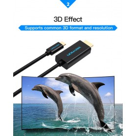 Vention, USB Type-C 3.1 naar HDMI 4K 3D 1.8 Meter, USB naar USB C kabels, V024, EtronixCenter.com