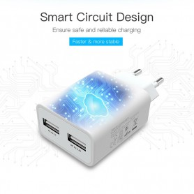 Vention - 5V 2.4A / 1A Dual USB Wall Charger Travel charger EU Plug - Ac charger - V025 www.NedRo.us