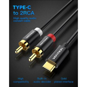 Vention - USB Type-C to RCA Audio Line Cable Adapter - USB to USB C cables - V030-CB www.NedRo.us