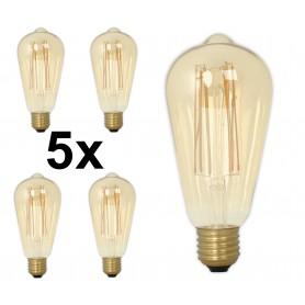 Calex - E27 Calex LED volglas Longgloeidraad Rustik Lamp 240V 4W 320lm ST64, Goud 2100K Dimbaar - Vintage Antiek - CA0453-5x ...