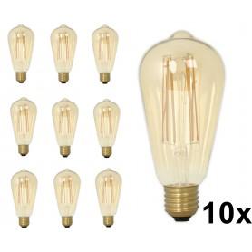 Calex - E27 Calex LED volglas Longgloeidraad Rustik Lamp 240V 4W 320lm ST64, Goud 2100K Dimbaar - Vintage Antiek - CA0453-10x...