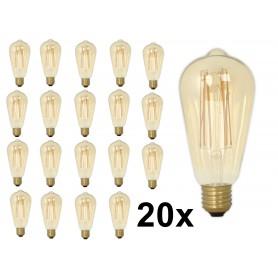 Calex - E27 Calex LED volglas Longgloeidraad Rustik Lamp 240V 4W 320lm ST64, Goud 2100K Dimbaar - Vintage Antiek - CA0453-20x...