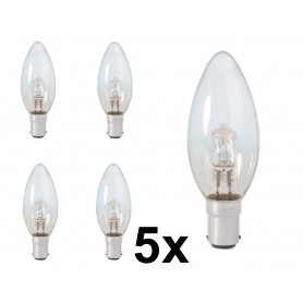 Calex - B35 BA15D 28W 230V Halogen candle shape lamp clear glass - Halogen Lamps - CA0345-5x www.NedRo.us