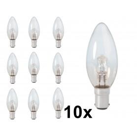 Calex - B35 BA15D 28W 230V Halogeen kaarslamp helder glas - Halogeenlampen - CA0345-10x www.NedRo.nl