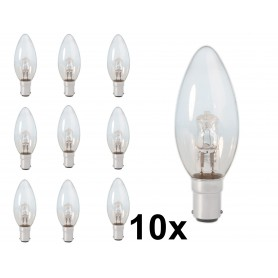 Calex - B35 BA15D 28W 230V Halogen candle shape lamp clear glass - Halogen Lamps - CA0345-10x www.NedRo.us
