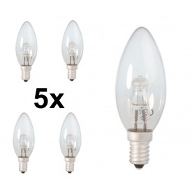 Calex - E14 28W 230V Halogen B35 candle shape lamp clear glass - Halogen Lamps - CA0347-5x www.NedRo.us