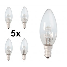 Calex - E14 42W 230V Halogen Candle shape lamp B35 energy saving cristal clear - Halogen Lamps - CA0348-5x www.NedRo.us