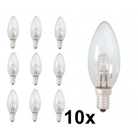 Calex - E14 42W 230V Halogen Candle shape lamp B35 energy saving cristal clear - Halogen Lamps - CA0348-10x www.NedRo.us