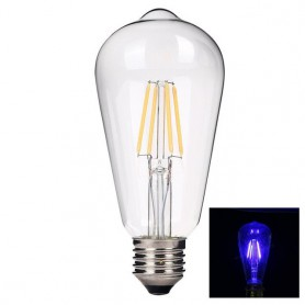 NedRo - 2 Stuks Vintage E27 4W 185-240V ST64 LED-lamp met Filament glas - Vintage Antiek - AL176-BU www.NedRo.nl