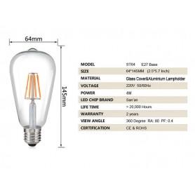 NedRo - 2 bucăți Vintage E27 4W 185-240V ST64 Bec cu Filament LED sticlă - Vintage Antic - AL176-CB www.NedRo.ro