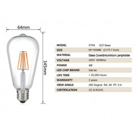 NedRo - 2 pieces Vintage E27 4W 185-240V ST64 LED Filament Glass Lamp - Vintage Antique - AL176-CB www.NedRo.us