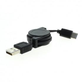 OTB - Datakabel - USB-type C (USB-C) connector naar USB A (USB-A 2.0) connector 0.7M kan worden opgerold - USB naar USB C kab...