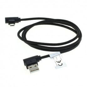 OTB - 1m USB naar Micro-USB datakabel haakse stekkers nylon gevlochten - USB naar USB C kabels - ON5011-C-CB www.NedRo.nl