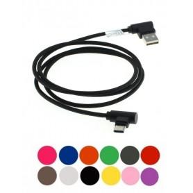1m USB naar Micro-USB datakabel haakse stekkers nylon gevlochten