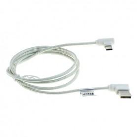 OTB - 1m USB TYPE C (USB-C) naar USB datakabel haakse stekkers nylon gevlochten - USB naar USB C kabels - ON5022 www.NedRo.nl