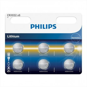 PHILIPS, 6-Pack Philips CR2032 3v lithium knoopcelbatterij, Knoopcellen, BS013-CB, EtronixCenter.com