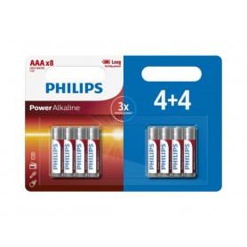 PHILIPS, 4+4 Pack - AAA R3 Philips Power Alkaline, AAA formaat, BS018-CB, EtronixCenter.com