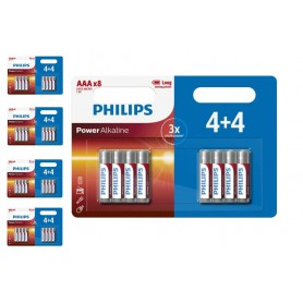 PHILIPS - 4+4 Pack Pack - AAA R3 Philips Power Alkaline - Size AAA - BS018-CB www.NedRo.us