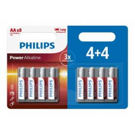 PHILIPS, 4+4 Pack - AA R3 Philips Power Alkaline, Size AA, BS019-CB, EtronixCenter.com