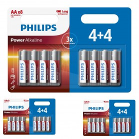 PHILIPS - 4+4 Pack - AA R3 Philips Power Alkaline - AA formaat - BS019-CB www.NedRo.nl