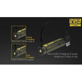 NITECORE - Nitecore USB 18650 li-ion NL1834R 3400mAh 3.6V - 18650 formaat - BS020-2x www.NedRo.nl