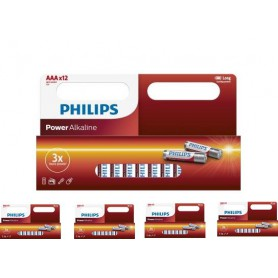 PHILIPS - 12-Pack - AAA R3 Philips Power Alkaline - AAA formaat - BS031-5x www.NedRo.nl