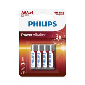 PHILIPS - 4-Pack - AAA R3 Philips Power Alkaline - AAA formaat - BS032-10x www.NedRo.nl