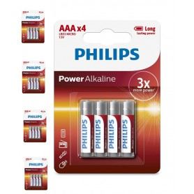 PHILIPS - 4-Pack - AAA R3 Philips Power Alkaline - AAA formaat - BS032-5x www.NedRo.nl