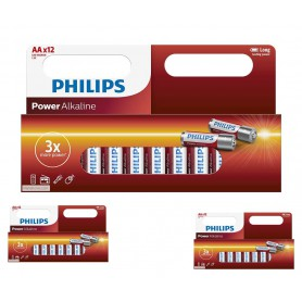 PHILIPS - 12-Pack - AA R3 Philips Power Alkaline - Size AA - BS033-CB
