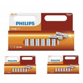 PHILIPS - 12-Pack - Philips Longlife Zinc AA/R6 alkalinebatterij - AA formaat - BS034-3x www.NedRo.nl