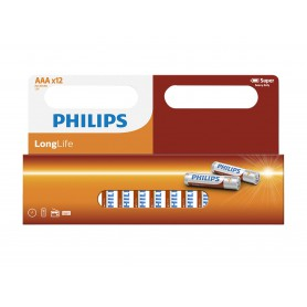 PHILIPS, 12-Pack - AAA R3 Philips LongLife Zinc Alkaline, AAA formaat, BS035-CB, EtronixCenter.com