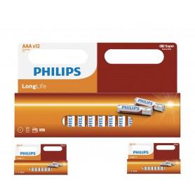 PHILIPS - 12-Pack - AAA R3 Philips LongLife Zinc Alkaline - Size AAA - BS035-3x www.NedRo.us
