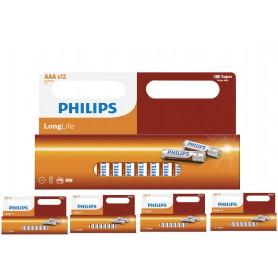 PHILIPS - 12-Pack - AAA R3 Philips LongLife Zinc Alkaline - Size AAA - BS035-5x www.NedRo.us