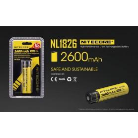 NITECORE - Nitecore 18650 li-ion NL1826 2600mAh 3.7V - 18650 formaat - BS039-2x www.NedRo.nl