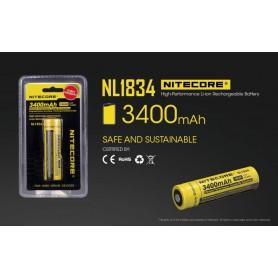 NITECORE - Nitecore 18650 li-ion NL1834 3400mAh 3.7V - Size 18650 - BS040-4x www.NedRo.us