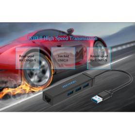 Vention, USB 3.0 HUB 5Gbps, adaptor LAN Ethernet de până la 10/100/1000 Mbps, Adaptoare retea, V033, EtronixCenter.com