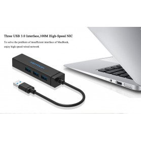Vention - USB 3.0 HUB 5Gbps, Ethernet LAN Adapter tot 10/100/1000 Mbps - Netwerk adapters - V033 www.NedRo.nl