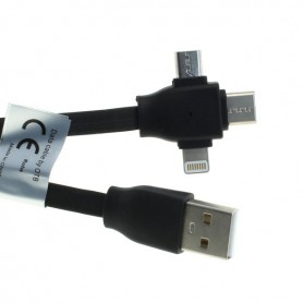 OTB - 3-in-1 data cable iPhone / Micro-USB / USB-C - Link cable 1M - Other data cables  - ON5066-CB www.NedRo.us