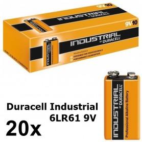 Duracell - Duracell Industrial 9V 6LR61 Alkaline - Size C D 4.5V XL - BL061-20x www.NedRo.us