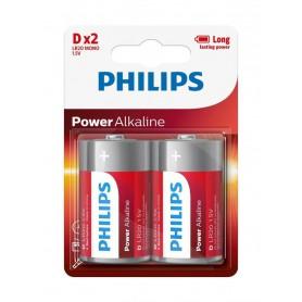 PHILIPS, Philips Power D/LR20 Alkaline - 2 pieces, Size C D 4.5V XL, BS048-CB