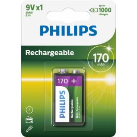 PHILIPS - Philips MultiLife 9V HR22/6HR61 170mAh oplaadbare batterij - Andere formaten - BS049-10x www.NedRo.nl