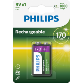 PHILIPS - Philips MultiLife 9V HR22 / 6HR61 170mAh rechargeable battery - Other formats - BS049-10x www.NedRo.us