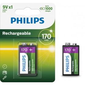 PHILIPS - Philips MultiLife 9V HR22 / 6HR61 170mAh rechargeable battery - Other formats - BS049-2x www.NedRo.us