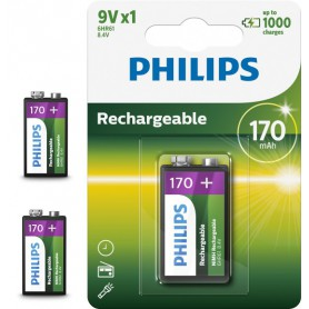 PHILIPS - Philips MultiLife 9V HR22 / 6HR61 170mAh rechargeable battery - Other formats - BS049-3x www.NedRo.us