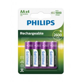 PHILIPS, Philips MultiLife 1.2V AA/HR6 2600mah NiMh rechargeable battery - 4-Pack, Size AA, BS050-CB